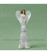 Anjel kvetinové šaty visiace srdce biela 20cm