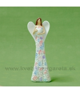 Anjel kvetinové šaty s motýľom biela s farebnými kvetmi 16cm