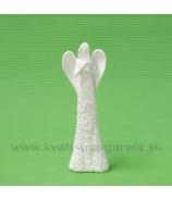 Anjel kvetinové šaty visiace srdce biely 16cm