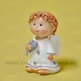 Anjelik ANGEL chlapček srdiečko na hrudi 6cm