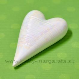 Srdiečko porcelánové biela perleť s glazúrou 12x7.5 cm