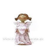 Anjelik copatý držiaci srdce Z lásky ružové dlhé šaty 8cm