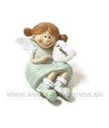 Anjelik Z lásky sediaci zelený 6cm