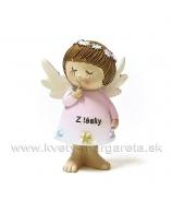 Anjelik Snívajúci Z lásky stojaci ružový 7cm
