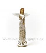 Anjel drevorezba visiace biele srdce hnedý 13cm
