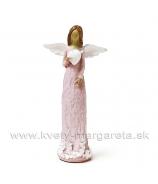 Anjel drevorezba držiaci biele srdce ružový 13cm