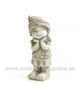 Škriatok záhradný Chlapček stojaci s rukou vo vrecku 19cm sivý Cement