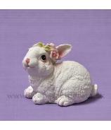 Zajačik s rúžovým venčekom sediaci 9cm