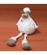 Plyšová ovečka s rolničkou visiace nohy 46cm