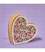 Srdce Motýľ LED svetlo drevo 11cm