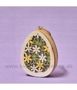 Vajce Motýľ LED drevo 11cm