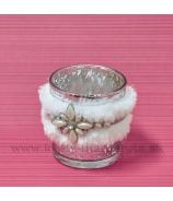 Sklenený svietnik Kožušinka Ozdobný ornament 8cm