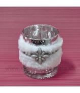 Sklenený svietnik Kožušinka Ozdobný ornament 10cm