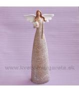 Anjel bublinky držiaci srdce hnedý 35cm