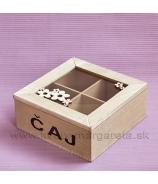Krabička na čaj 2x2 kvietky olivová 17cm
