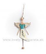 Vintage Anjel záves plechový s rolničkou biely 42cm