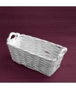 Prútený košík Obal s drevenými rúčkami biely 33cm