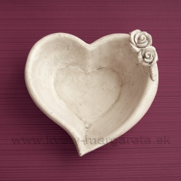 Miska Srdce Dve ruže betón 17cm