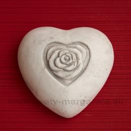 Srdiečko s ružou Betón biele 12cm