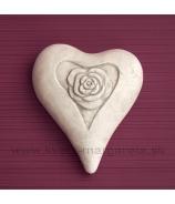 Srdiečko s ružou asymetrické Betón biele 19cm