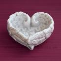 Anjelské krídla Miska v tvare srdca biela 18 cm