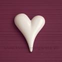 Srdce asymetrické porcelán biele 12cm