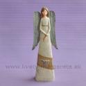 Anjel Tri srdcia Vintage s plechovými krídlami 24cm