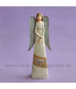Anjel Tri srdcia Vintage s plechovými krídlami