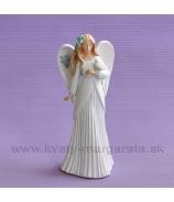Anjel Clematis s vtáčikom v plysovaných šatách 20cm