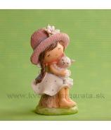 Dievčatko sediace s mačiatkom rúžovo-biele 13cm