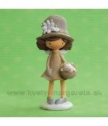 Dievčatko v klobúku s mačiatkom v košíku Natural 15cm
