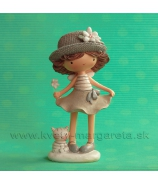 Dievčatko v klobúku s mačiatkom Natural 15cm