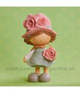 Dievčatko Amália s ružou Tyrkys 18cm