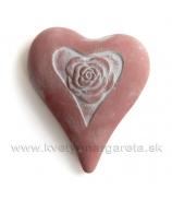 Srdiečko s ružou asymetrické s ružou biele 19cm