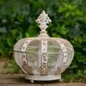 Kráľovská koruna Albion plech Champagne patina biela 33cm