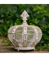 Kráľovská koruna Misa s vekom plech patina biela 33cm
