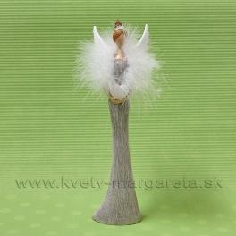 Anjel Korunka s labutienkou Srdce v rukách hnedý 27cm