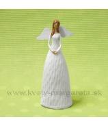 Anjel Plechové krídla drevoryt biely 16cm
