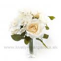 Kytička Ruže s Hortenziou Biedermayer krémová -zľava 30%