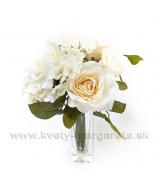 Kytička Ruže s Hortenziou Biedermayer Pistáciovo biela-zľava 30%