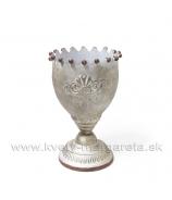 Dekoračný Kalich Reliéf Ozdobný guličkový lem 22cm