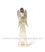 Anjel svietnik plechový glitrovaný 43 cm