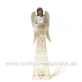 Anjel svietnik Srdce plechový glitrovaný 43 cm