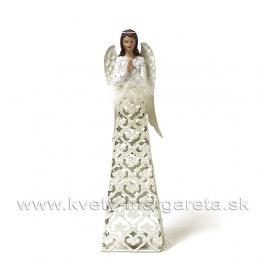Anjel Svietnik Modliaci plechový glitrovaný 34cm