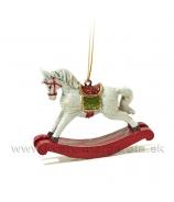 Hojdací koník bielo červený 7cm