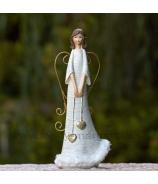 Anjel Dve vysiace srdcia drôtové krídla labutienka 22cm