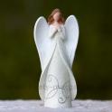 Anjel v kabátci Kresba glitrovaný krémový 16cm