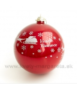 Sklenená guľa Veselé Vianoce záves 12cm