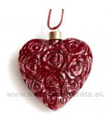 Sklenené srdce Rose 10cm