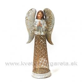 Svietnik Anjel Modlitba antik patina gold 35cm
